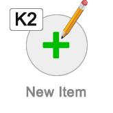 K2 new item button